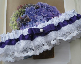 Purple Garter with Vintage Lace