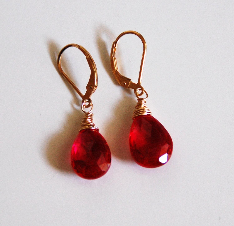 ruby quartz dangle drop earrings wedding jewelry bridal