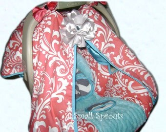 DeeLayna Coral Damask/Grey & White Chevron/Aqua Blue Fancy Tent Cover With Bling Flower