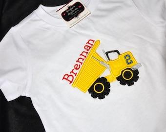 Birthday Shirt  First birthday second birthday ANY bithday dumptruck dump truck  theme Personalized Number shirt