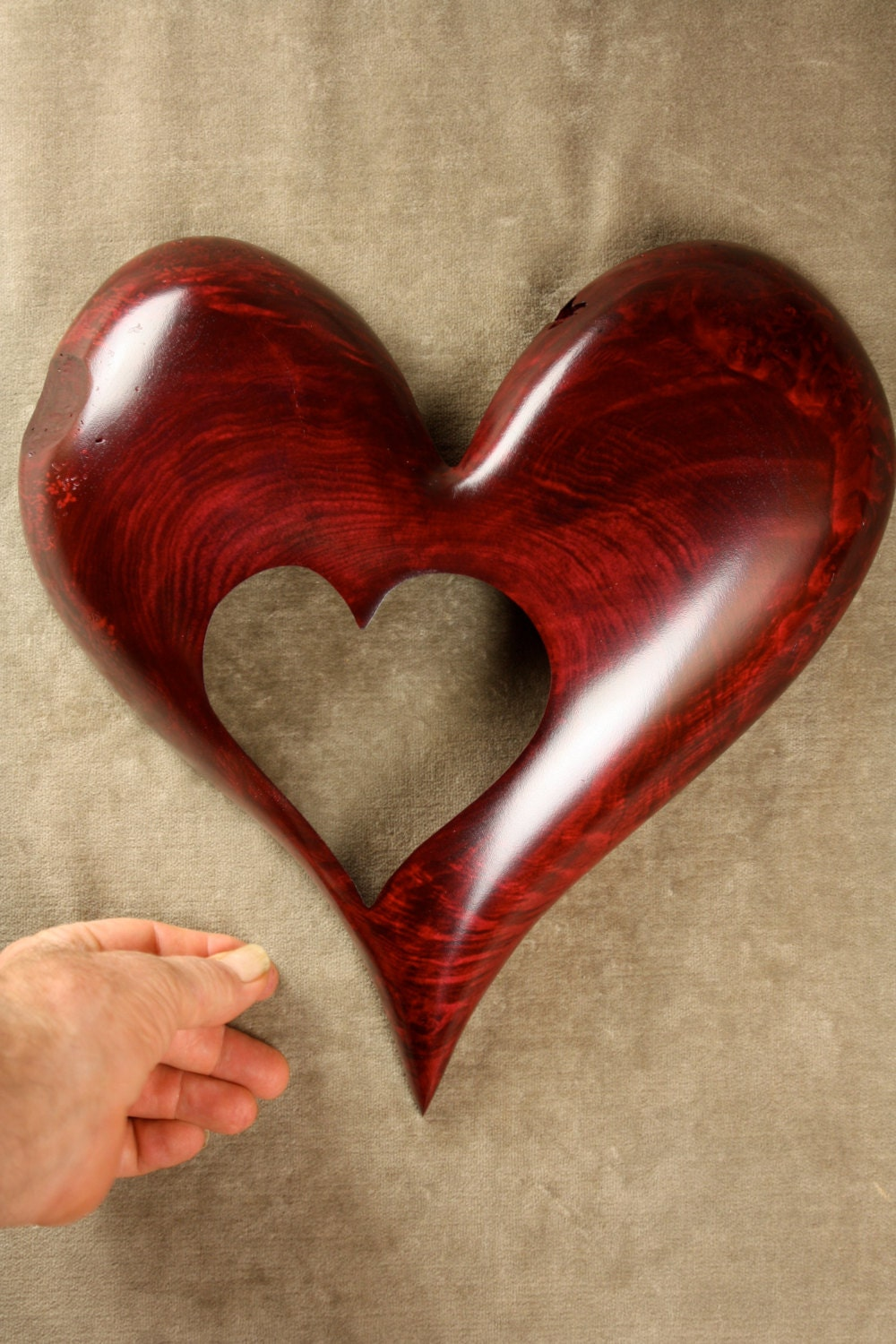 Red Heart Wood Carving Art Wooden Wedding Gift For Bride