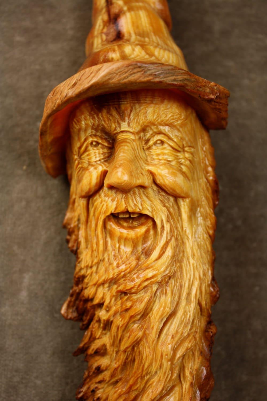 Wood spirit elf wizard carving ooak valentine gift