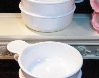 Vintage Pyroceram Corning Ware Corelle White Centura Casserole Grab It Bowls Set of Four, Glass Dinnerware, 1970's Kitchen Collectible