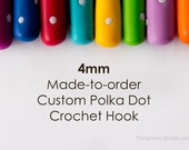4mm Crochet Hook, Made-to-Order Custom Colour Polka Dots, comfortable polymer clay handle for easy use