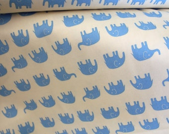 Daiwabo Japan Fabric, Tip Top Elephant Walk Blue on white, Cotton canvas, 1/2 Yard