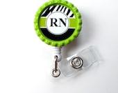 RN Badge Holder Green - ID Badge Reel - Name Tag Badge - Nursing Badge - Nurse Badge Clip - Cute ID Badge Reel