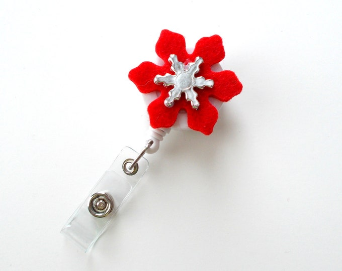 Christmas Flower - Retractable ID Badge Reel - Name Badge Holder - Nursing Badge - Nurse Badge Holder - Nursing Badge Clip - Holiday Badge