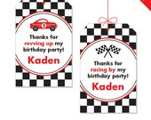 Race Car party - Personalized DIY printable favor tags