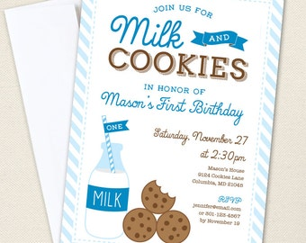 Milk and Cookies Party Invitations - Professionally printed *or* DIY printable