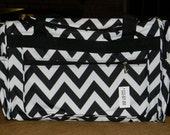Personalized Chevron print large duffle bag