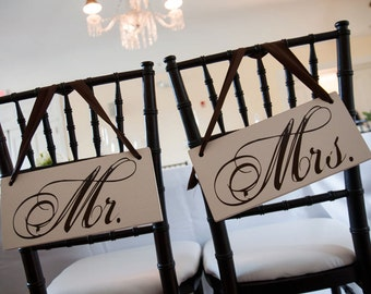 Wedding Signs, Mr. & Mrs. Wedding Chair Signs and/or Thank and You. 6 X 12 inches. Wedding Reception Chair Signs, Photo Props.