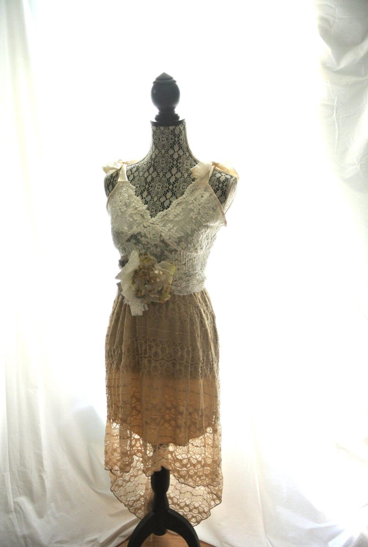 Bohemian Lace Prairie Dress Romantic Shabby By