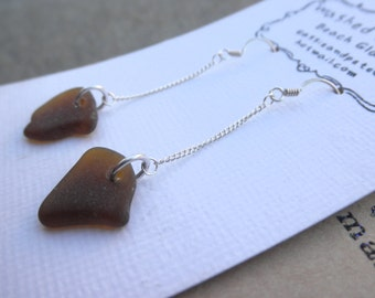Long Brown Beach Glass Earrings