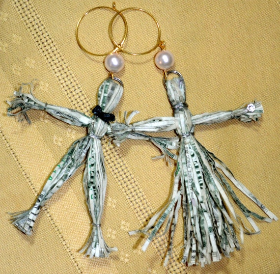 His and Hers Recycled Money Worry Doll Wine Charms