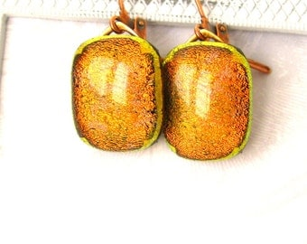 Amber glowing dichroic glass Earrings. Glass minimalist modern earrings. Sparking dichroic glass