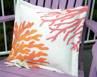 "Outdoor pillow two corals 20"" sherbet colors orange pink coastal shelling seashore SCUBA underwater marine nautical island tropical vacation"