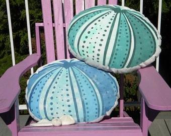 "Outdoor pillow SEA URCHIN LUMBAR 15""x20"" (38x50cm) hand painted beach shelling ocean marine coastal Crabby Chris"