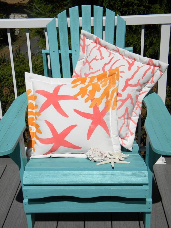 "Undersea STARFISH AND CORAL 20"" (50cm) pillow cushion sherbet colors coastal seashore beach shelling vacation nautical Crabby Chris Original"