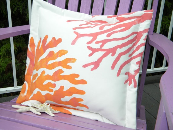 "Outdoor pillow two corals 20"" sherbet colors orange pink coastal shelling seashore SCUBA underwater marine nautical island tropical vacation"