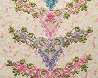 Flower Heart Lace Hand Dyed Venise Applique Embellishment