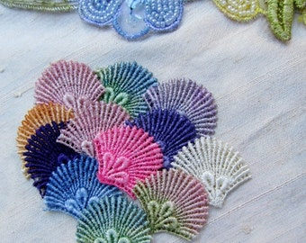 Peacock Fan Lace Hand Dyed Venise Applique Embellishment Pack Kit