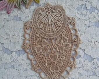 Venise Hand Dyed Lace Medallion Applique Embellishment Motif