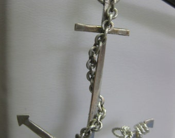 Sterling Silver Hand Wrought Anchor Pendant