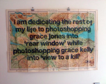 Two Graces -  printed blue text on vintage map