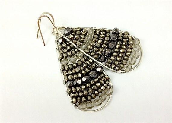 Silver Tear Beaded Earrings