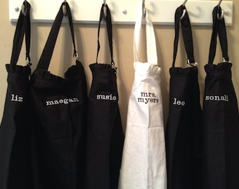 Set of 8 - PERSONALIZED RUFFLED APRON - Custom Designed Ladies Embroidered Apron