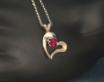 Ruby Textured Open Heart Silver Necklace & Valentine gift July birthstone