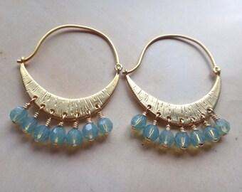 Aqua and gold earrings, Swarovski aqua earrings, chandelier earrings, Swarovski Pacific opal earrings, aqua crescent moon earrings, handmade