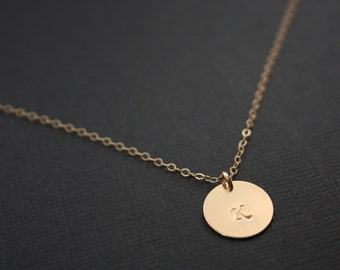 Single disc necklace in GOLD FILLED - Initial disc( sparkling 1/2 inches) engraved necklace, birthday mothers day gift ,Christmas gift