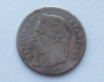 Napoleon III French 1867 Silver Coin 50 Centimes