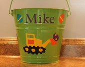 Personalized Easter, Baby shower, or Birthday basket/pail for boys - Construction trucks/Tractors and Easter eggs