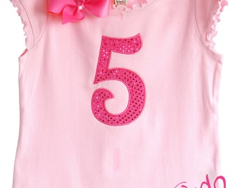 Custom Boutique Sequin Birthday Number or Initial Tee Shirt Design Your Own
