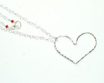 Sterling Silver Heart Necklace - Hammered Pendant - Red Crystals - Love Jewelry - Large Heart Pendant