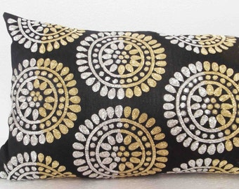 modern retro hand crafted sequins cushion available with a filler in 9x20 inches.