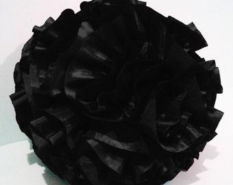 black ruffled filled  round pouf fluffy cushion black pillow designer pillow modern pillow retro pillow in a round 14 inch diameter