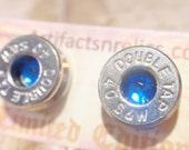 Bullet Earrings Double Tap LIMITED EDITION - 40 Caliber Stud w Sapphire Blue gem Bullet Jewelry Stud style earrings Nickel plated silver