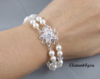 Bridal bracelet Swarovski white ivory pearls Daisy Flower Jewelry Bridesmaid gift Maid of honor Wedding Crystal Two (2) strands bracelet