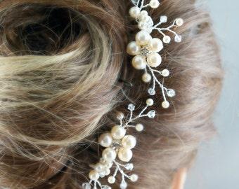 Bridal comb, Wedding hair comb, Set of 2, Ivory pearls hair piece, Wedding hair accessories, Bridesmaid hair comb, Unique headpiece