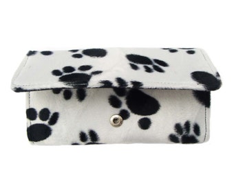 USA Handmade Bi-Fold Woman Wallet Animal Print PAW Print Pattern , New and Rare