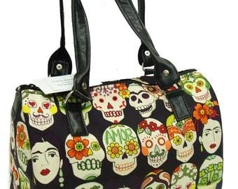 Handbag Doctor bag USA Handmade Satchel Style A Gotas De Amor Latino Artist Frida  Pattern Alexander Henry Cotton Fabric Bag Purse, new