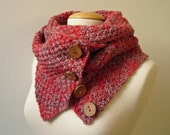 Chunky Knit Buttoned Red Infinity Snood Cowl