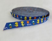 2 meters ( 2.2 yards) yellow and blue duckling weaving woven trim ribbon wide 1 cm