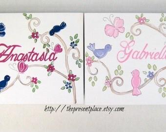 pair of keepsake boxes,christening gifts,pink,purple,birds,butterflies,personalized christening gift,kids boxes,childrens boxes,keepsake box