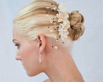 flower With crystal and Pearls Hair comb for wedding floral bridal comb 1