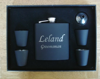 11 Personalized Flask Sets  -  Great gift for Groomsmen, Best Man, Father of the Groom, Father of the Bride