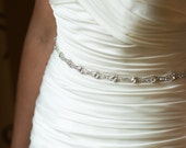 Bridal Sash, Rhinestone Sash, Wedding Dress Sash, Crystal Belt, Embellishment, Applique Thin Trim